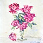 Rosen Vase Aquarell Galerie-Blumenbilder